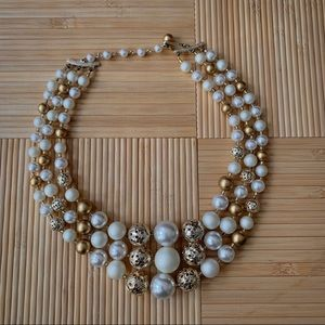 Vintage Mid-Century Beaded Triple-Strand Necklace